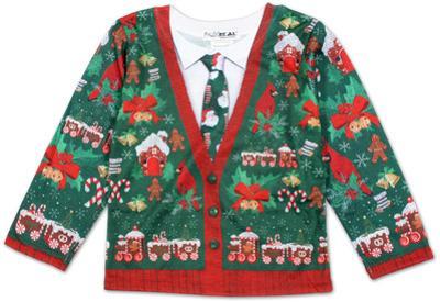 Toddler Long Sleeve: Ugly Xmas Cardigan Costume Tee