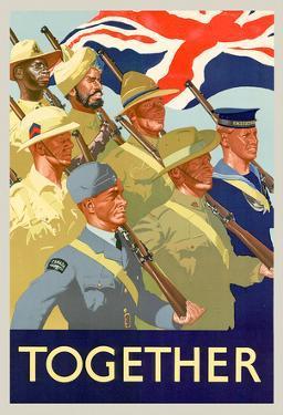 Together British Servicement WWII War Propaganda Art Print Poster