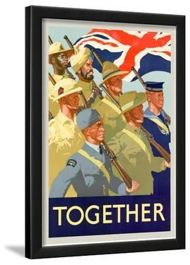 Together British Servicement WWII War Propaganda Art Print Poster