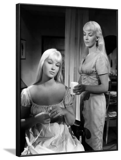 Toi... le venin Blonde by RobertHossein with Marina Vlady and Odile Versois, 1958 (b/w photo)--Framed Photo