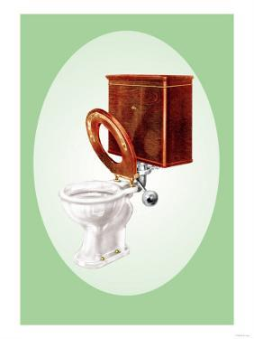 Toilet with Wooden Back
