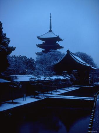 Toji Pagoda in Snow