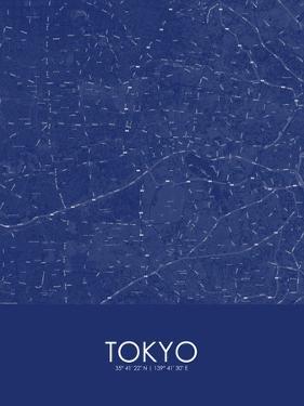 Tokyo, Japan Blue Map