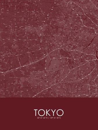 Tokyo, Japan Red Map