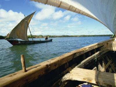 Dhows on River, Lamu, Kenya, East Africa, Africa