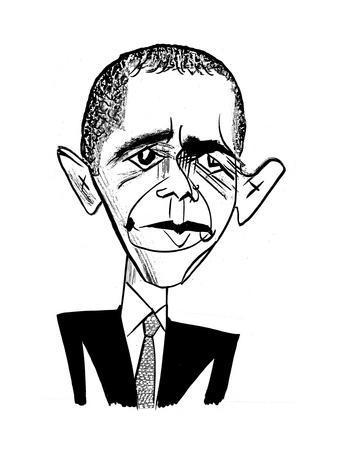 Barack Obama Suit & Tie - Cartoon