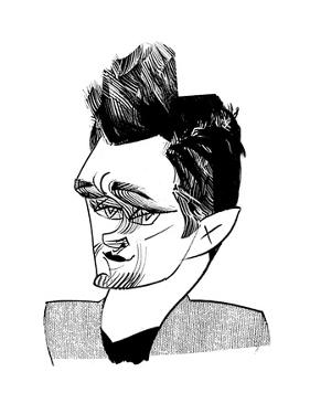 Hugh Dancy - Cartoon by Tom Bachtell