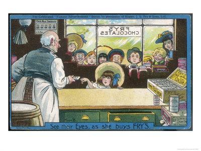 Nine Children Watch as a Lucky Little Girl Buys Herself a Bar of Fry's Chocolate