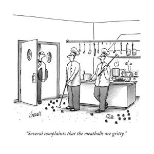 A waiter speaks to two chefs in a kitchen who are playing golf with meatba - New Yorker Cartoon by Tom Cheney