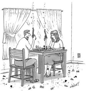 Couple holding revolvers while playing chess, with bits of chess pieces on… - New Yorker Cartoon by Tom Cheney