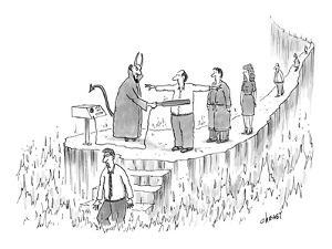 Devil checking new arrivals with a metal detector. - New Yorker Cartoon by Tom Cheney