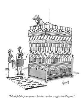 """""""I don't feel the pea anymore, but that condom wrapper is killing me."""" - New Yorker Cartoon by Tom Cheney"""