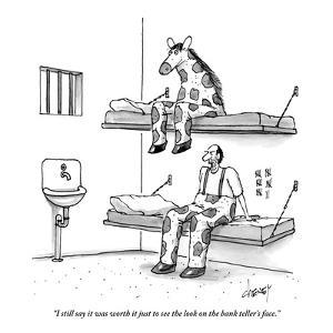 """""""I still say it was worth it just to see the look on the bank teller's fac - New Yorker Cartoon by Tom Cheney"""