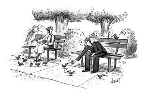 Man feeding cigarettes to pigeons, and lighting them with his lighter. - New Yorker Cartoon by Tom Cheney