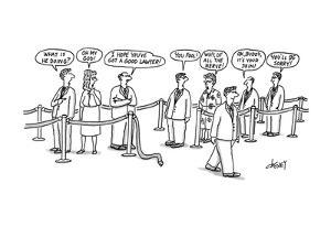 Man walks out from line joined by warnings from the rest of the line. - New Yorker Cartoon by Tom Cheney