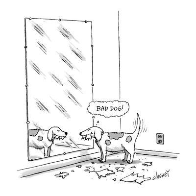 Mischievous dog, looking at self in mirror, thinking 'Bad dog!' - New Yorker Cartoon