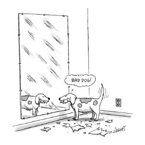 Mischievous dog, looking at self in mirror, thinking 'Bad dog!' - New Yorker Cartoon by Tom Cheney