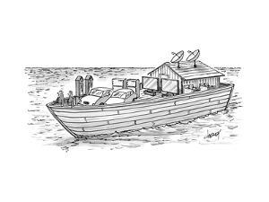 Noah's ark with pairs of home appliances instead of animals. - New Yorker Cartoon by Tom Cheney