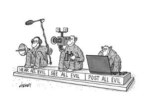 Three monkeys sit on a pedestal, each holding sound equipment, a film came? - New Yorker Cartoon by Tom Cheney