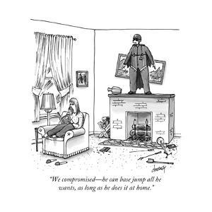 """""""We compromised—he can base jump all he wants, as long as he does it at ho - New Yorker Cartoon by Tom Cheney"""