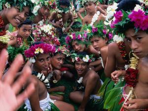 Crowd of People Wearing Flowers at Independence Day Celebrations, Fiji by Tom Cockrem