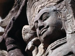 Detail of Carved Statue at the Terrace of the Leper King, Angkor Thom, Angkor, Cambodia by Tom Cockrem