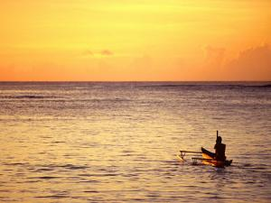 Pao-Pao Boat on the Water at Sunset, Vaisala Beach, Samoa by Tom Cockrem