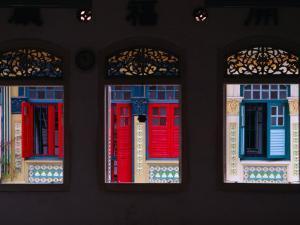 Row of House Windows on Lorong, Geylang, Singapore, Singapore by Tom Cockrem