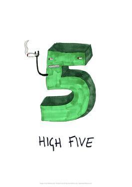 High Five - Tom Cronin Doodles Cartoon Print by Tom Cronin