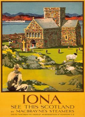 Iona - See this Scotland by MacBraynes Steamers - Celtic Cross at Iona Abbey by Tom Gilfillan