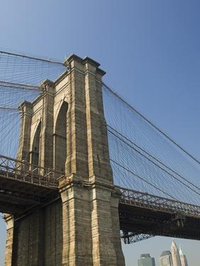 Brooklyn Bridge Tower and Lower Manhattan by Tom Grill