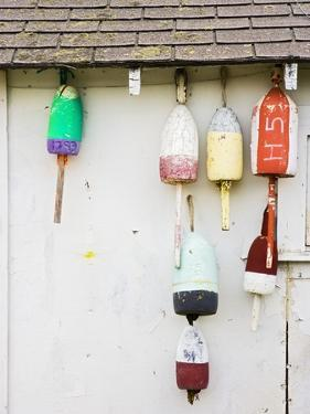 Lobster Buoys on Hut by Tom Grill
