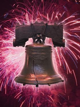 The Liberty Bell and Fireworks by Tom Grill