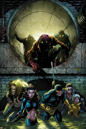 X-Men Forever 2 No.5 Cover: Sabretooth, Kitty Pryde, Cyclops, Storm, and Gambit Walking by Tom Grummett
