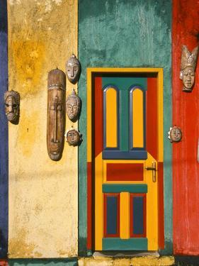 Colorfully Painted Building Decorated with Masks, Ubud, Bali, Indonesia by Tom Haseltine