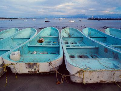 Turquoise Fishing Boats in Fishing Village, North of Puerto Vallarta, Colonial Heartland, Mexico