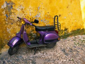 Vespa and Yellow Wall in Old Town, Rhodes, Greece by Tom Haseltine
