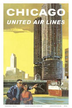 Chicago, USA - Marina City, Chicago River - United Air Lines by Tom Hoyne