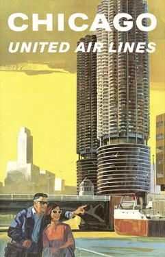 Chicago, USA - Marina City, Chicago River - United Air Lines by Tom Hoyne