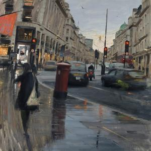 Regent Street in Rain with Taxi, 2018 by Tom Hughes