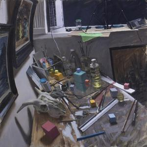 Studio Corner with Skull, Cubes and Green Paper by Tom Hughes