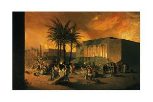 A Painting Depicts an Attack on the Ancient City of Persepolis by Tom Lovell