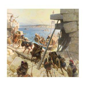 A Painting Depicts Macedonian Soldiers Attacking Tyre by Tom Lovell