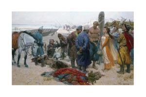 A Painting Shows a Viking Selling a Slave Girl to a Persian Merchant by Tom Lovell