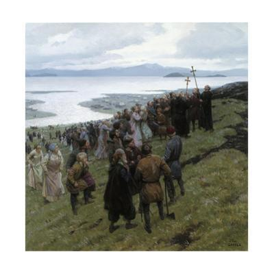 A Painting Shows the Christian Clergy Preaching to a Norse Settlement by Tom Lovell