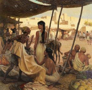Abraham's Wife, Sarai, and a Slave Bargain for Cloth in a Marketplace by Tom Lovell