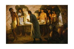 Abraham Walks Beside Body of Sarah into a Cave Tomb by Tom Lovell