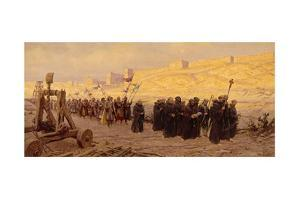 Barefoot Ancient Christian Army Marches around Besieged Jerusalem by Tom Lovell