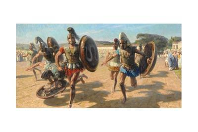 Greek Contestants Wearing Heavy Armor Race for Fame and Olive Wreath by Tom Lovell
