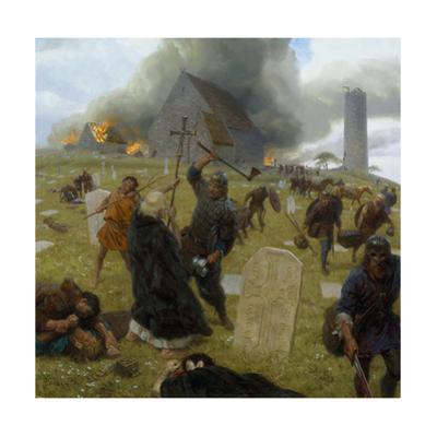 Norse Marauders Wreak Mayhem at Clonmacnoise, Ireland by Tom Lovell